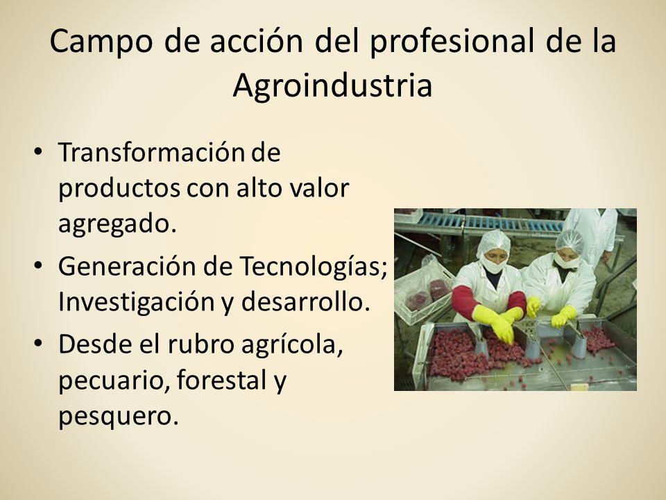 Campo de acción del profesional de la Agroindustria