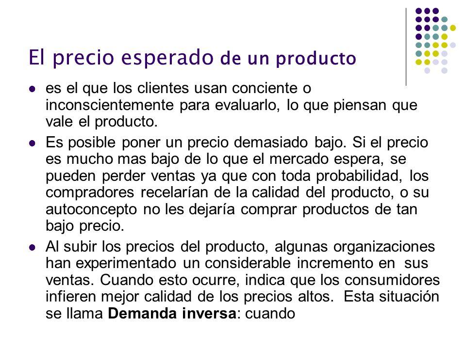 El precio esperado de un producto