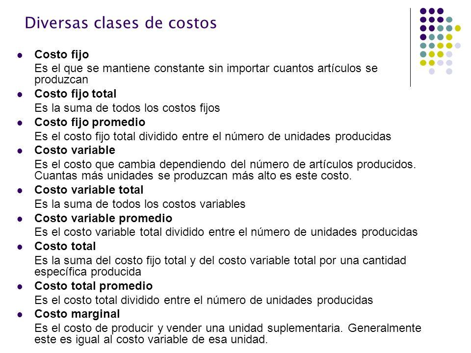 Diversas clases de costos