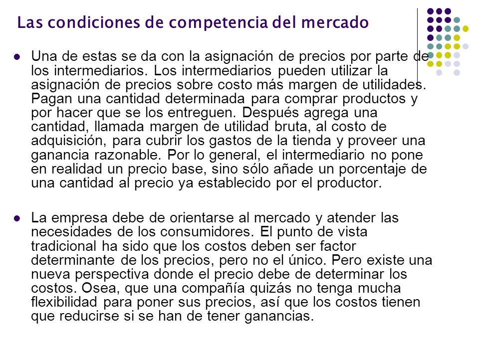 Las condiciones de competencia del mercado