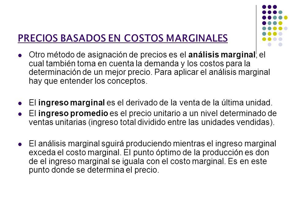 PRECIOS BASADOS EN COSTOS MARGINALES