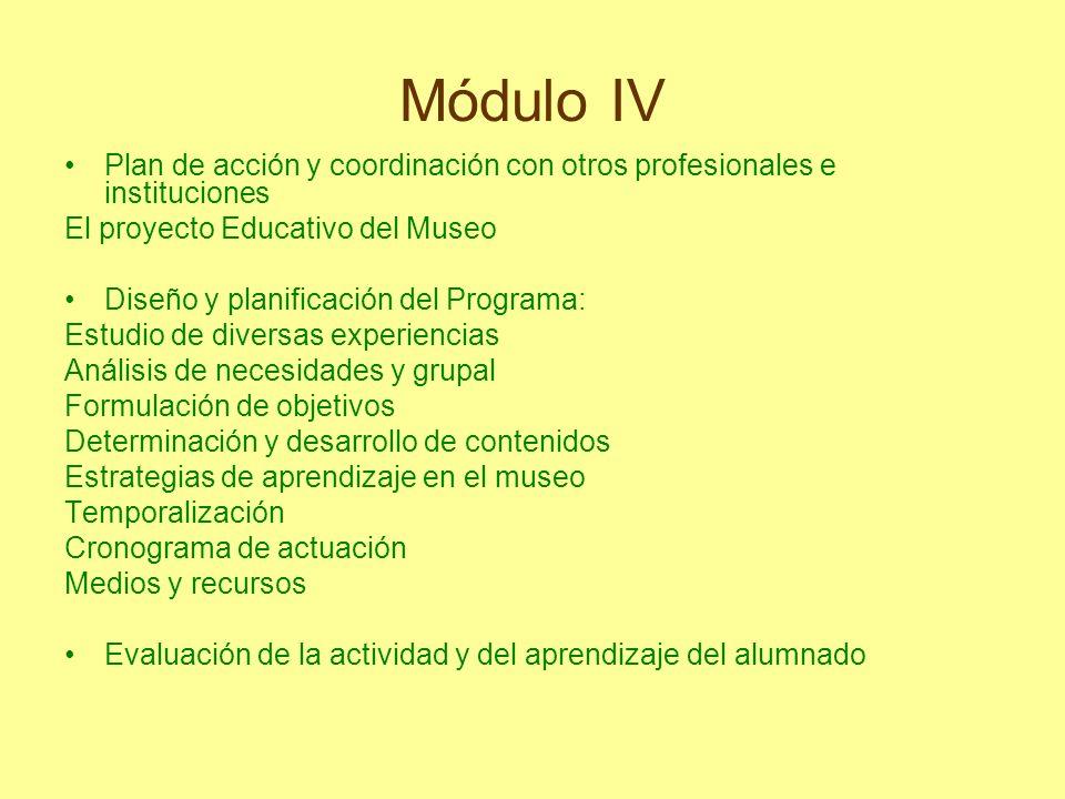 Módulo IV Plan de acción y coordinación con otros profesionales e instituciones. El proyecto Educativo del Museo.