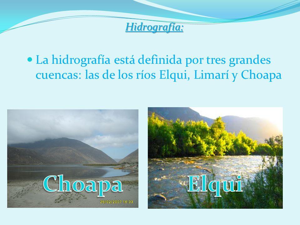 Hidrografía:La hidrografía está definida por tres grandes cuencas: las de los ríos Elqui, Limarí y Choapa.