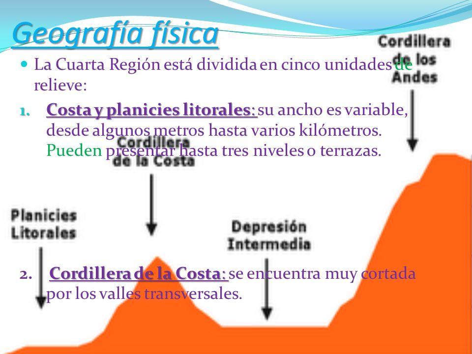 Geografía física La Cuarta Región está dividida en cinco unidades de relieve:
