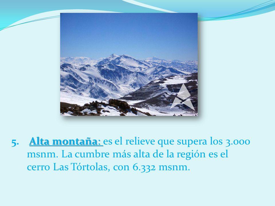 Alta montaña: es el relieve que supera los 3. 000 msnm