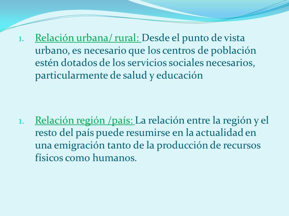 Relación urbana/ rural: Desde el punto de vista urbano, es necesario que los centros de población estén dotados de los servicios sociales necesarios, particularmente de salud y educación