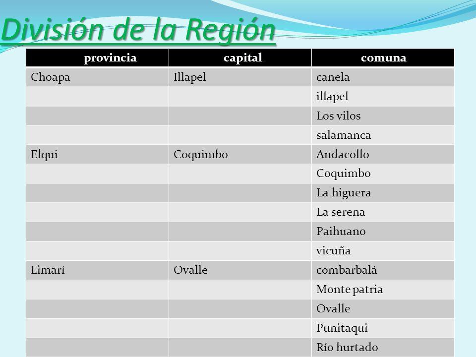 División de la Región provincia capital comuna Choapa Illapel canela