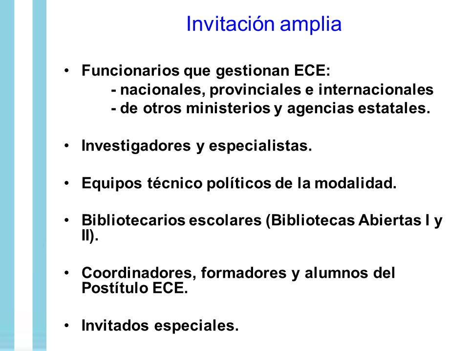 Invitación amplia Funcionarios que gestionan ECE: