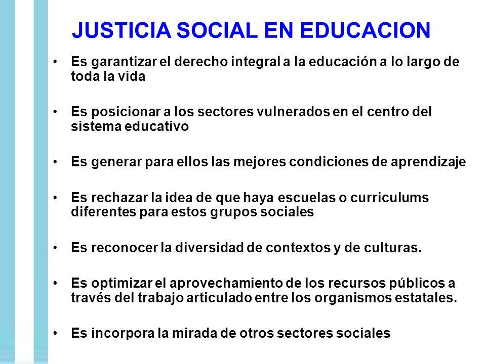 JUSTICIA SOCIAL EN EDUCACION