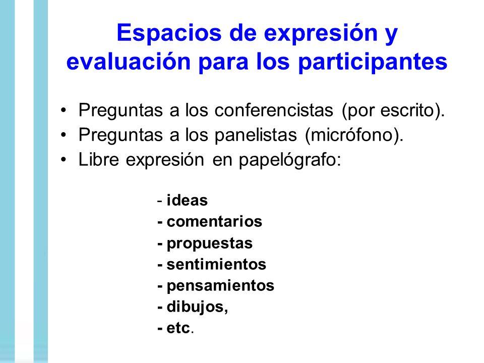 Espacios de expresión y evaluación para los participantes