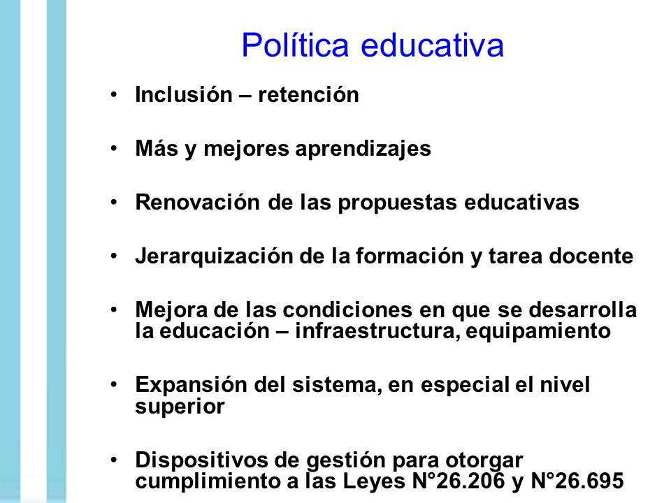 Política educativa Inclusión – retención Más y mejores aprendizajes