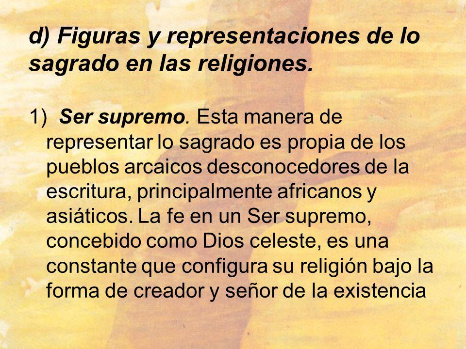 d) Figuras y representaciones de lo sagrado en las religiones.
