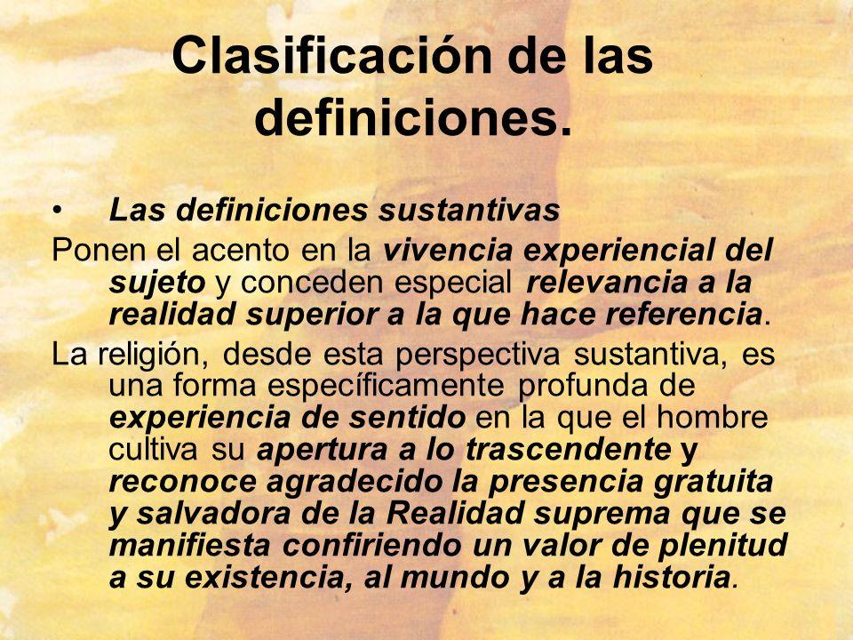 Clasificación de las definiciones.