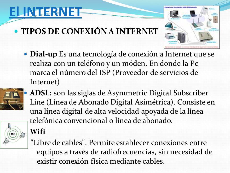 El INTERNET TIPOS DE CONEXIÓN A INTERNET