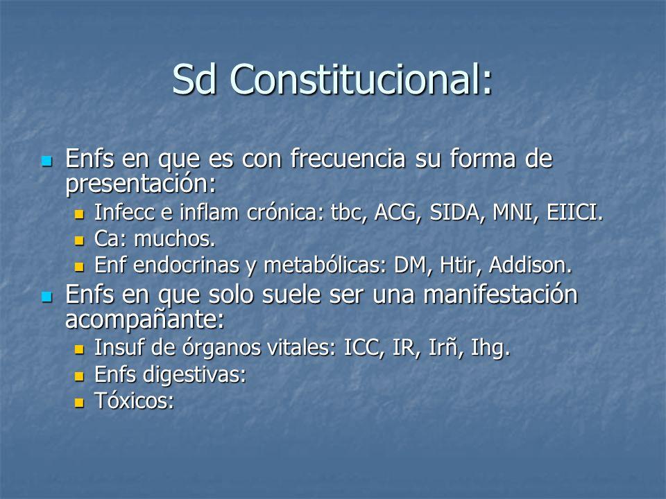 Sd Constitucional: Enfs en que es con frecuencia su forma de presentación: Infecc e inflam crónica: tbc, ACG, SIDA, MNI, EIICI.
