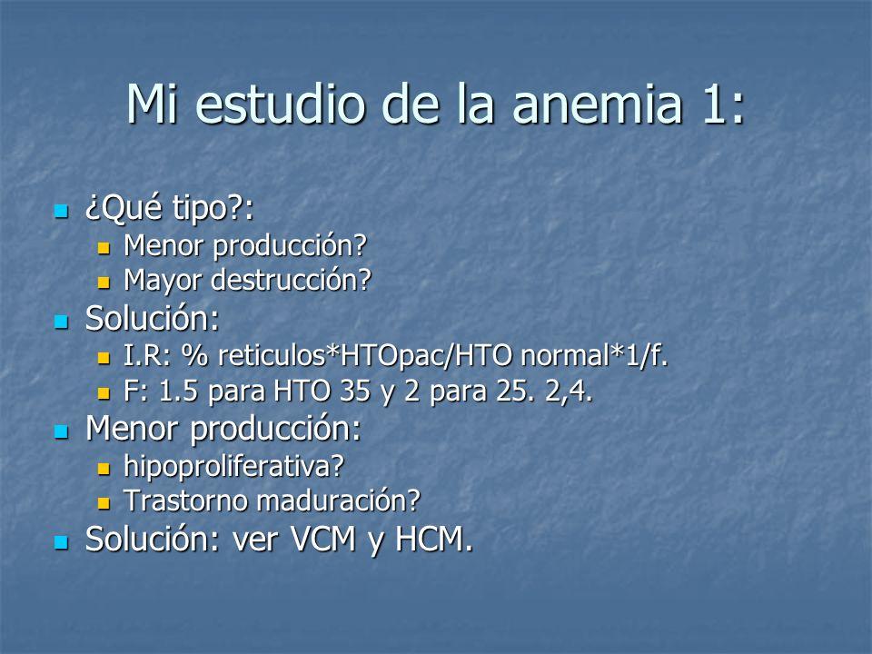 Mi estudio de la anemia 1: