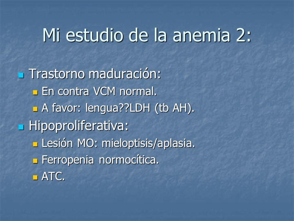 Mi estudio de la anemia 2: