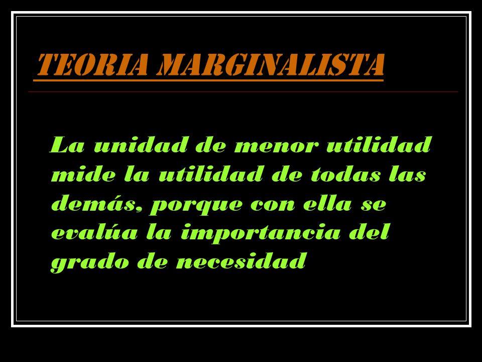 TEORIA MARGINALISTALa unidad de menor utilidad mide la utilidad de todas las demás, porque con ella se evalúa la importancia del grado de necesidad.