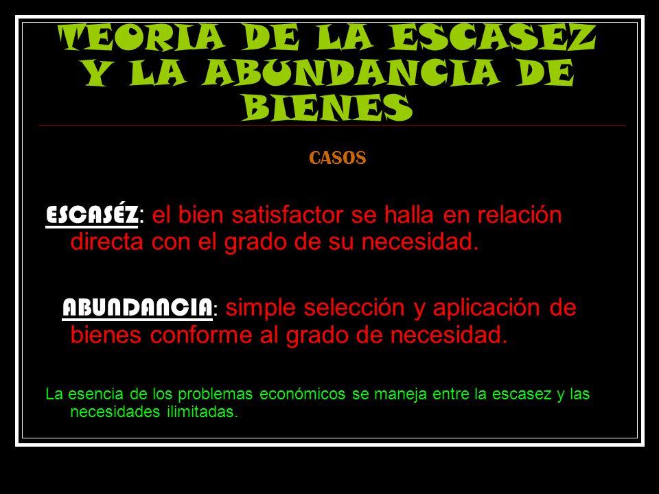 TEORIA DE LA ESCASEZ Y LA ABUNDANCIA DE BIENES