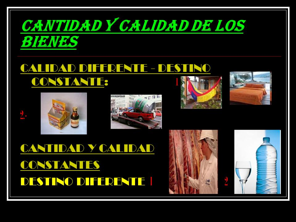 CANTIDAD Y CALIDAD DE LOS BIENES