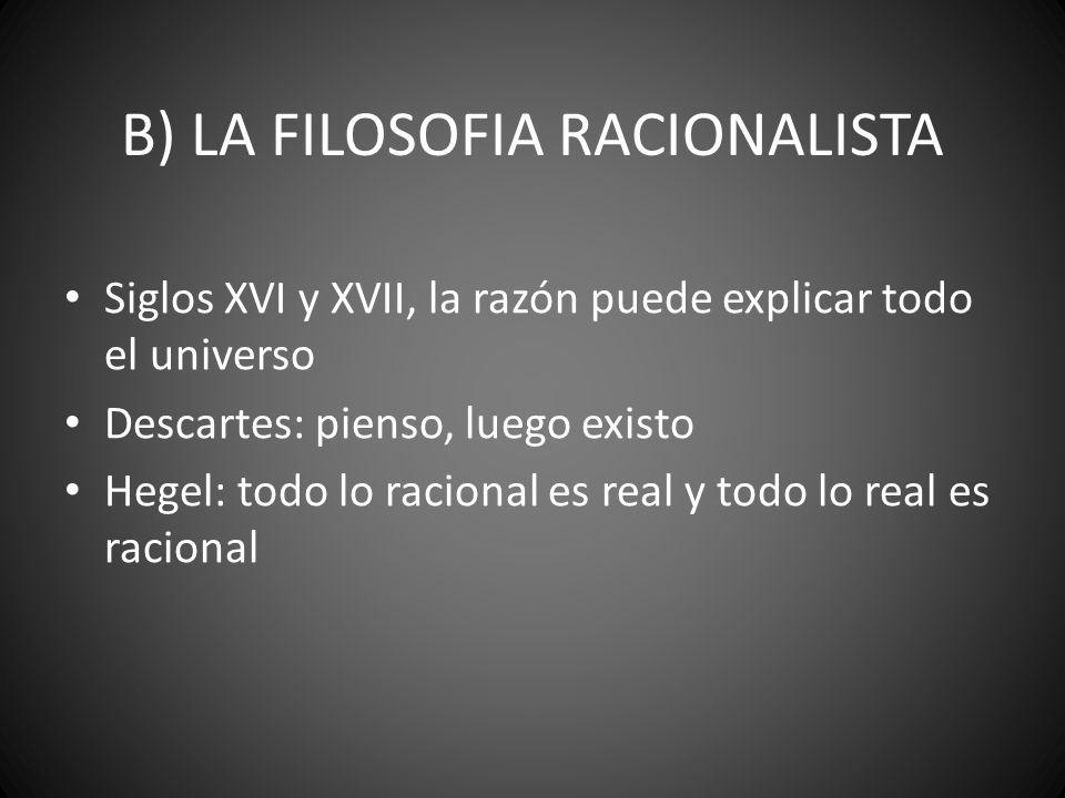 B) LA FILOSOFIA RACIONALISTA