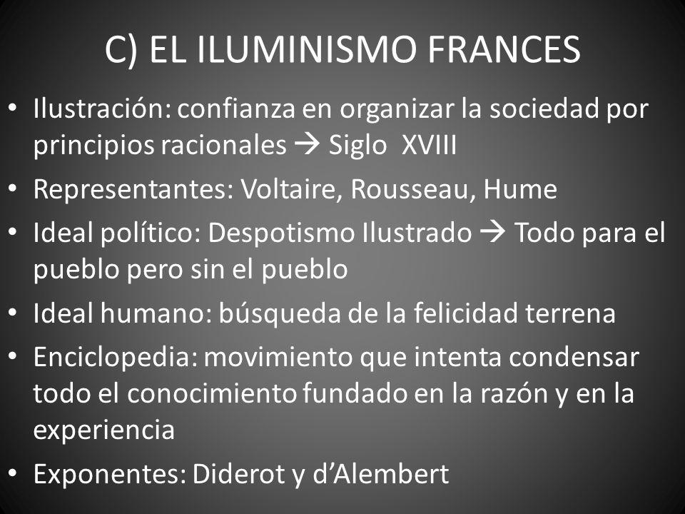 C) EL ILUMINISMO FRANCES