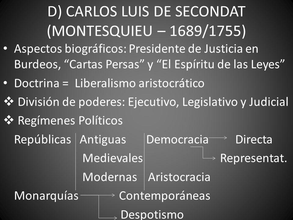 D) CARLOS LUIS DE SECONDAT (MONTESQUIEU – 1689/1755)