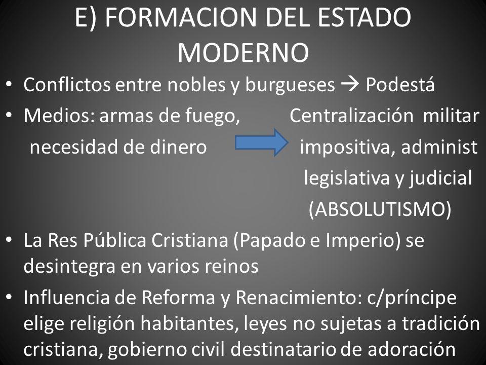 E) FORMACION DEL ESTADO MODERNO