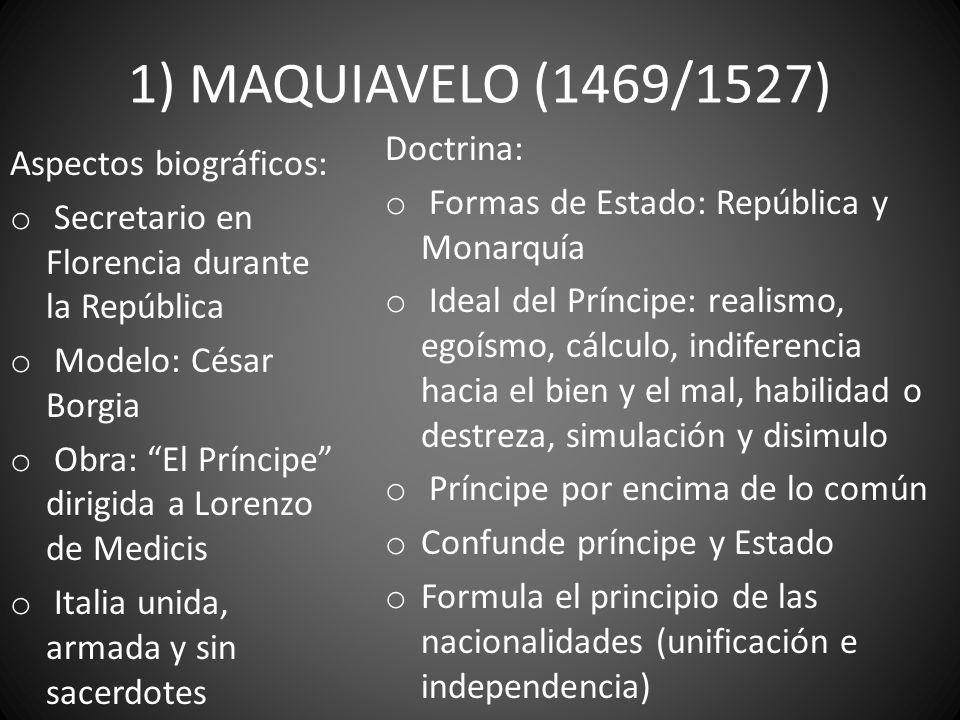 1) MAQUIAVELO (1469/1527) Doctrina: Aspectos biográficos: