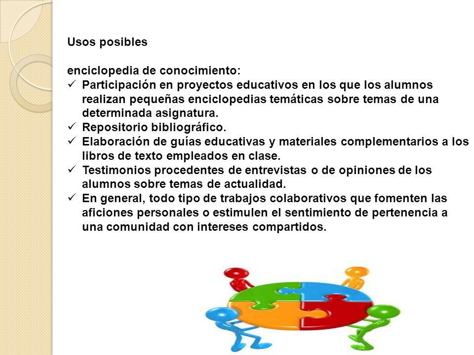 Usos posibles enciclopedia de conocimiento: