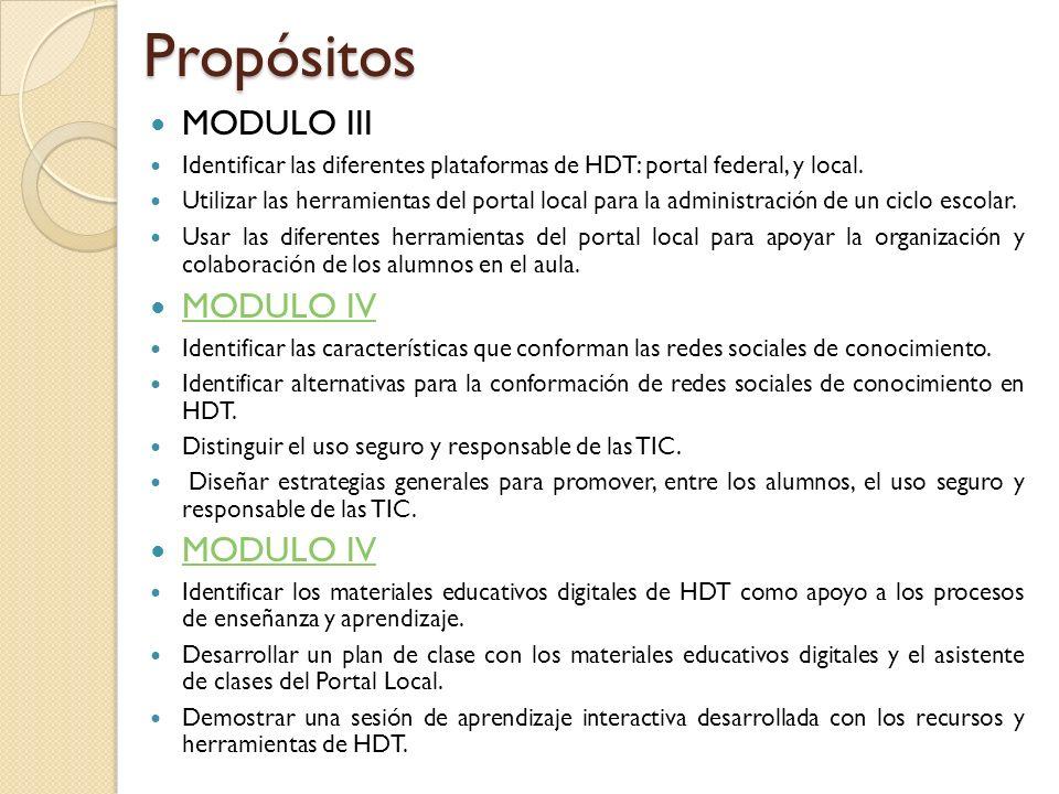 Propósitos MODULO III MODULO IV