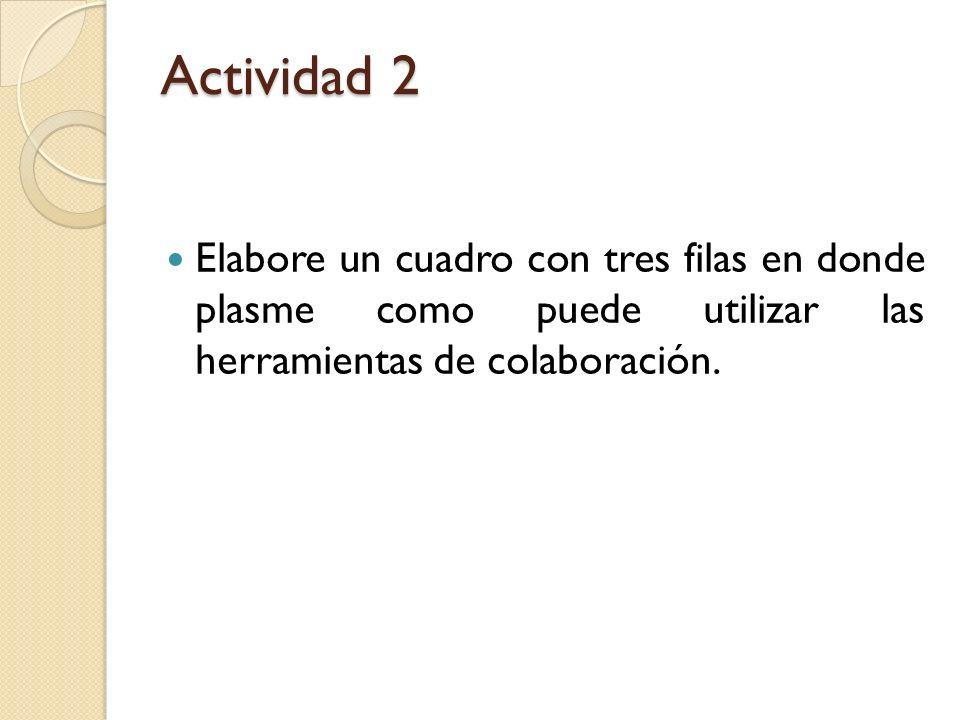 Actividad 2 Elabore un cuadro con tres filas en donde plasme como puede utilizar las herramientas de colaboración.