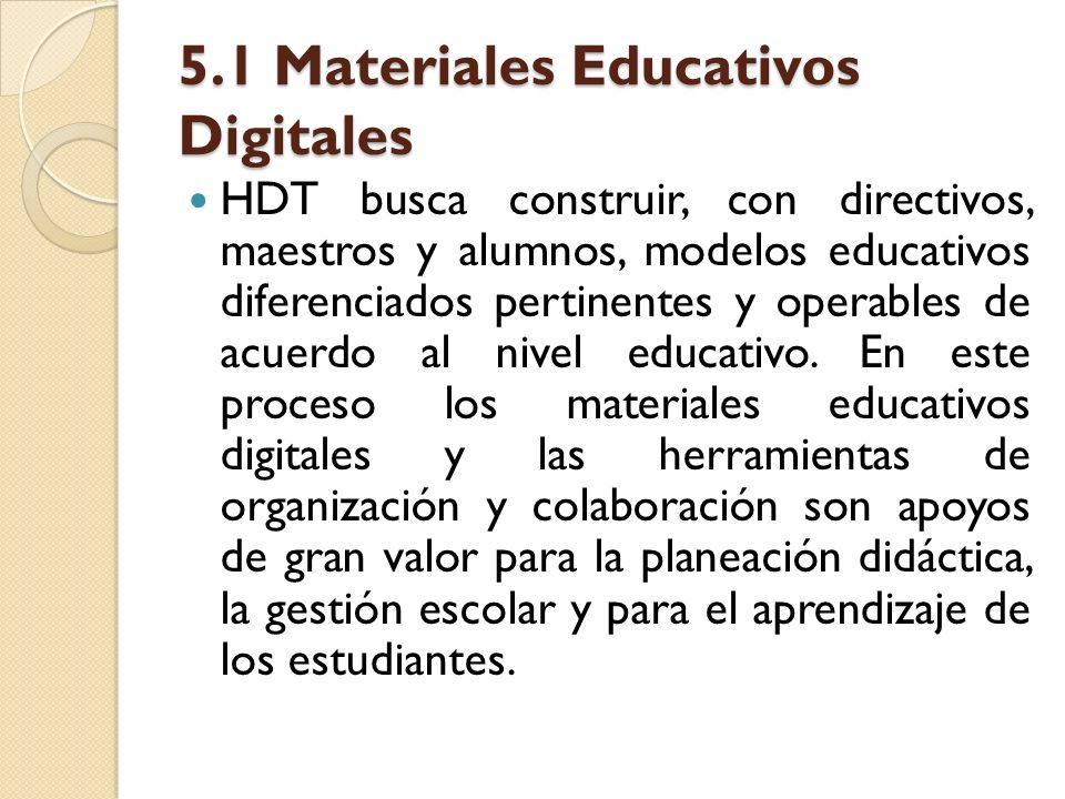 5.1 Materiales Educativos Digitales