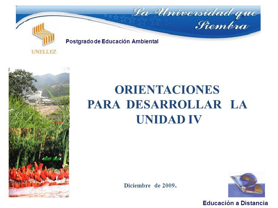 ORIENTACIONES PARA DESARROLLAR LA UNIDAD IV Diciembre de 2009.