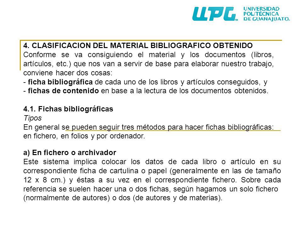 4. CLASIFICACION DEL MATERIAL BIBLIOGRAFICO OBTENIDO