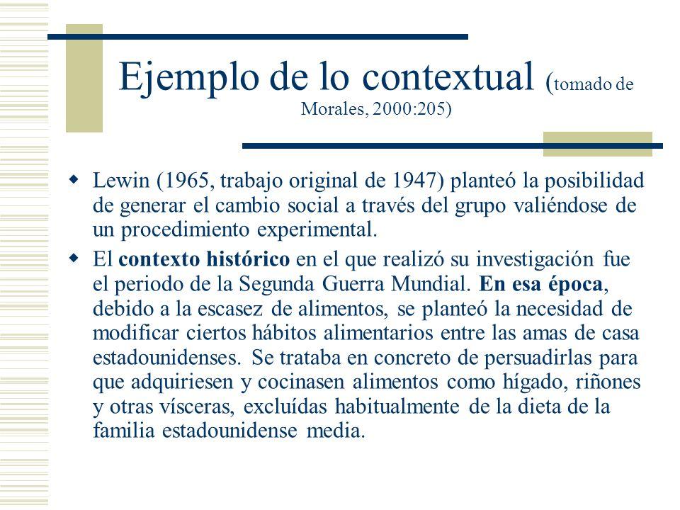Ejemplo de lo contextual (tomado de Morales, 2000:205)