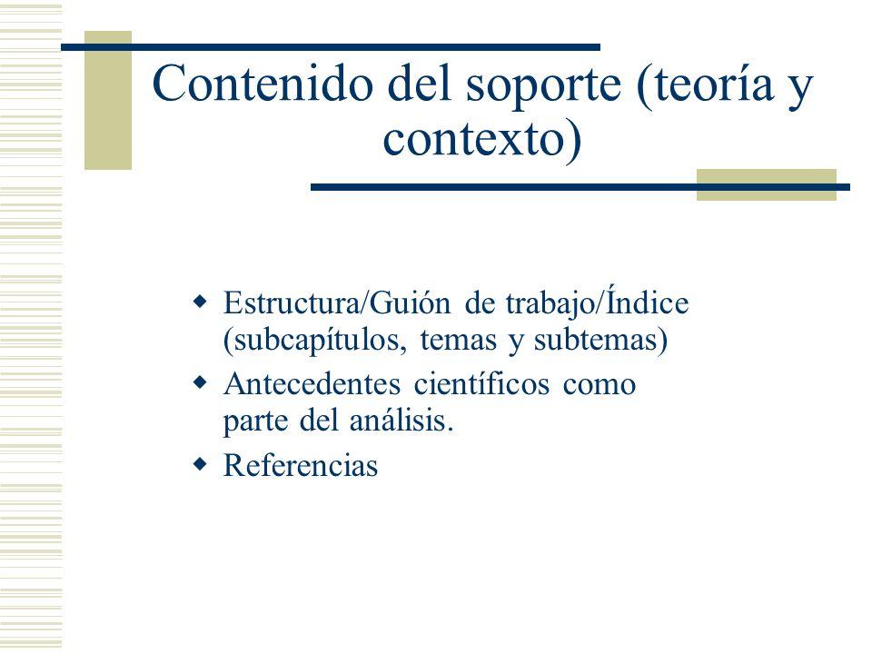 Contenido del soporte (teoría y contexto)