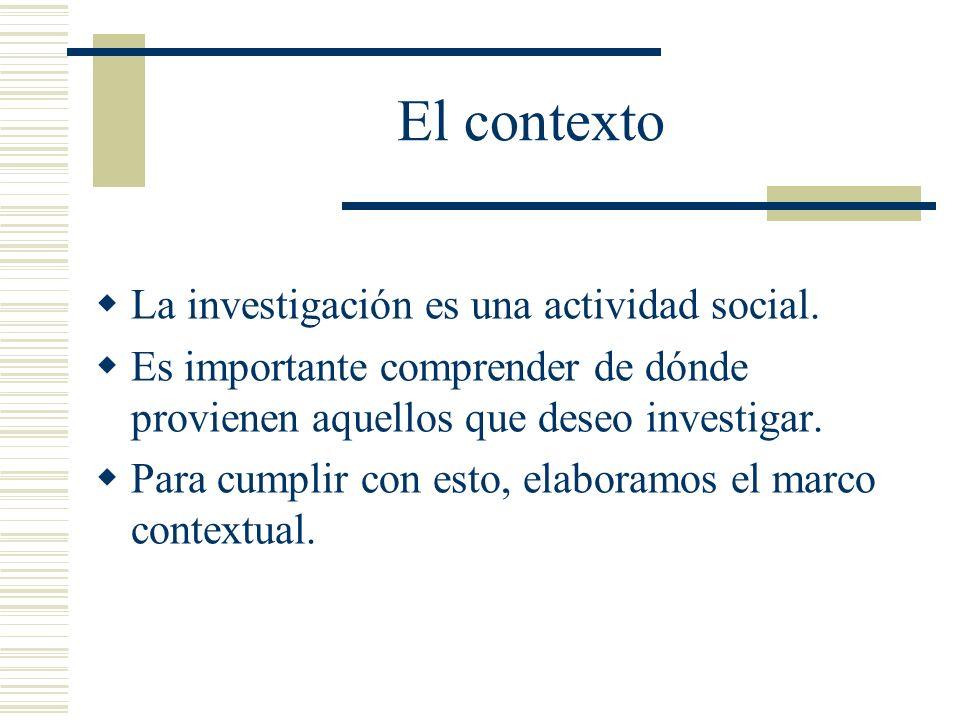 El contexto La investigación es una actividad social.