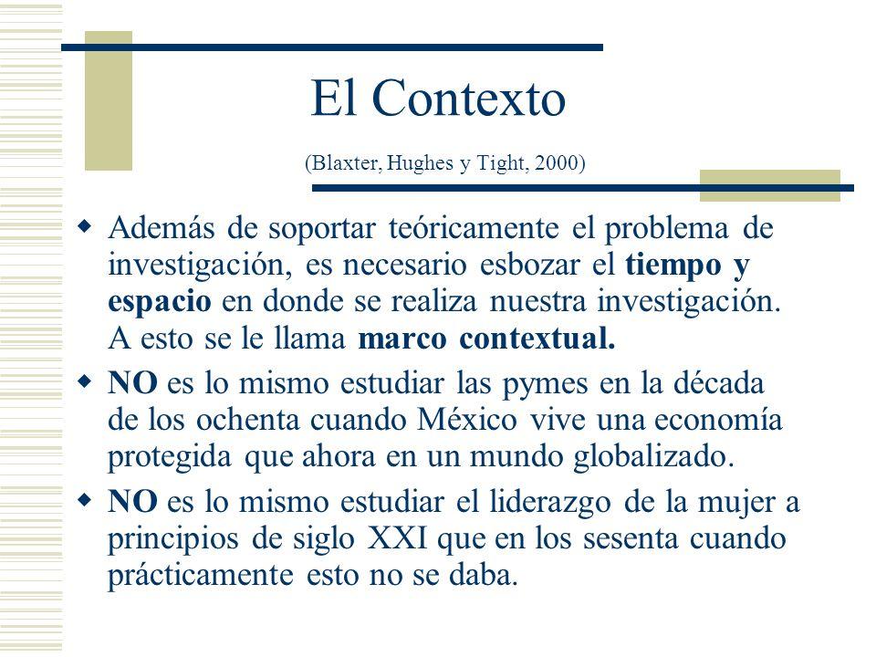 El Contexto (Blaxter, Hughes y Tight, 2000)