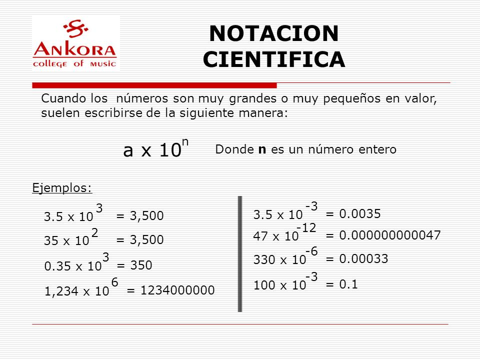 NOTACION CIENTIFICA a x 10
