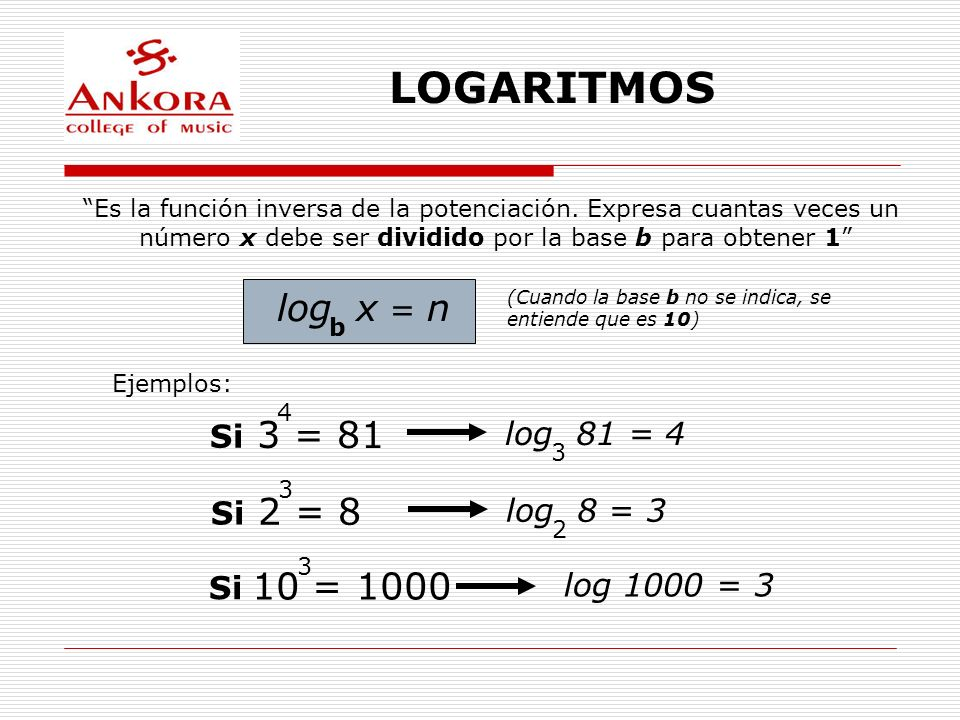 LOGARITMOS log x = n 3 = 81 2 = 8 10 = 1000 Si log 81 = 4 Si log 8 = 3