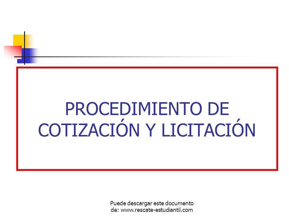 PROCEDIMIENTO DE COTIZACIÓN Y LICITACIÓN
