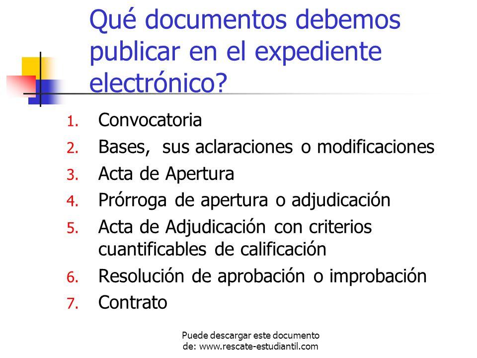 Qué documentos debemos publicar en el expediente electrónico