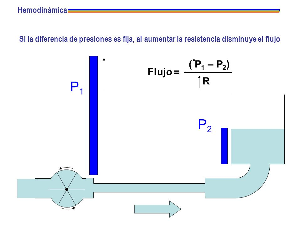 P1 P2 ( P1 – P2) Flujo = R Hemodinámica