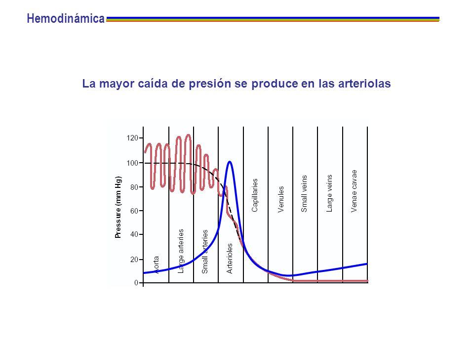 Hemodinámica La mayor caída de presión se produce en las arteriolas