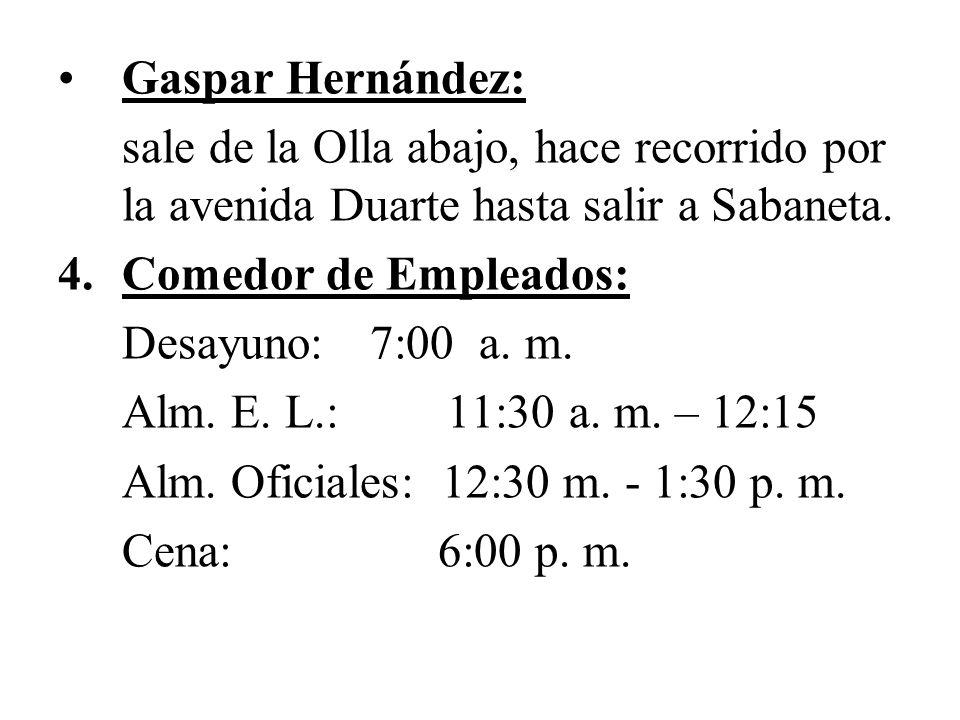Gaspar Hernández: sale de la Olla abajo, hace recorrido por la avenida Duarte hasta salir a Sabaneta.