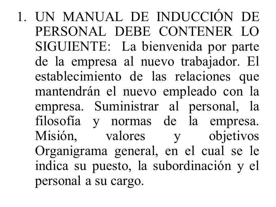 UN MANUAL DE INDUCCIÓN DE PERSONAL DEBE CONTENER LO SIGUIENTE: La bienvenida por parte de la empresa al nuevo trabajador.