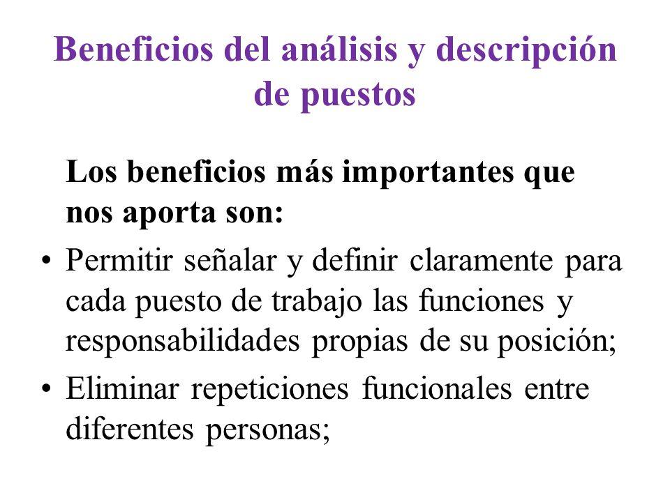 Beneficios del análisis y descripción de puestos