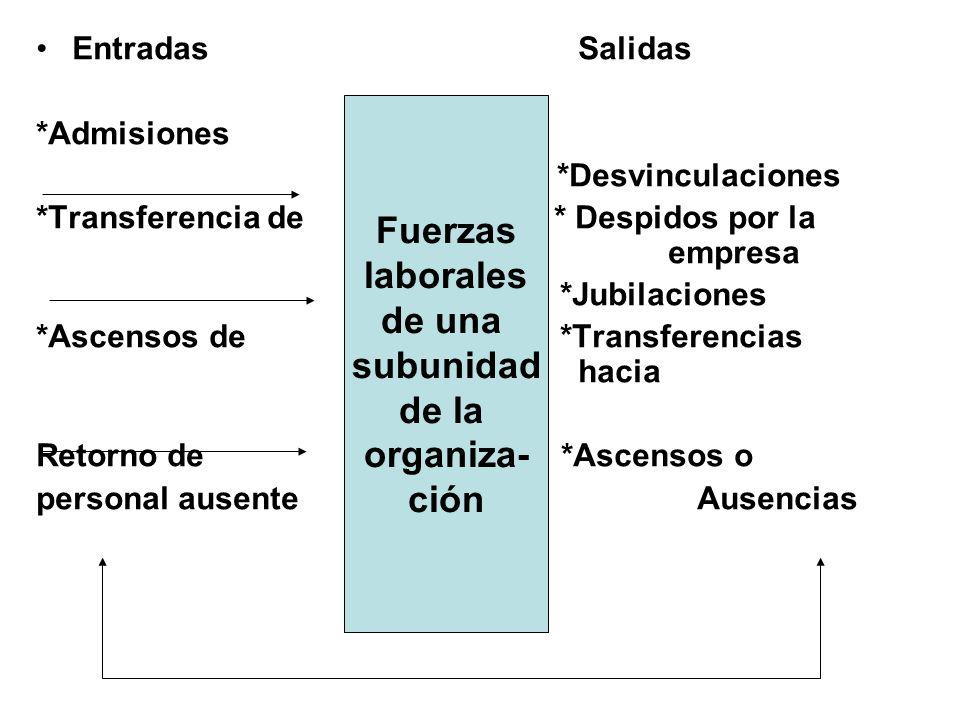 Fuerzas laborales de una subunidad de la organiza- ción