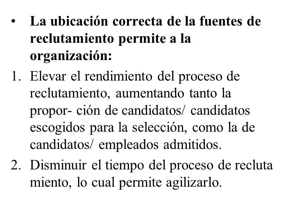 La ubicación correcta de la fuentes de reclutamiento permite a la organización: